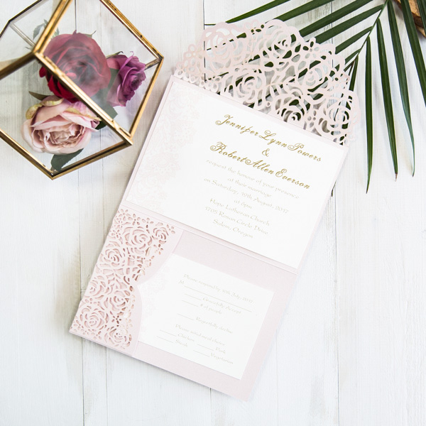 blush pink and gold rose and lace pocket wedding invitation