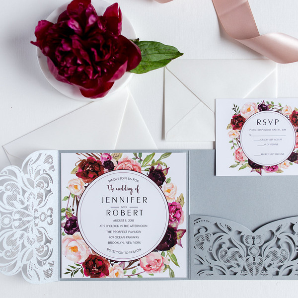 burgundy floral silver laser cut wedding invitations EWWS177