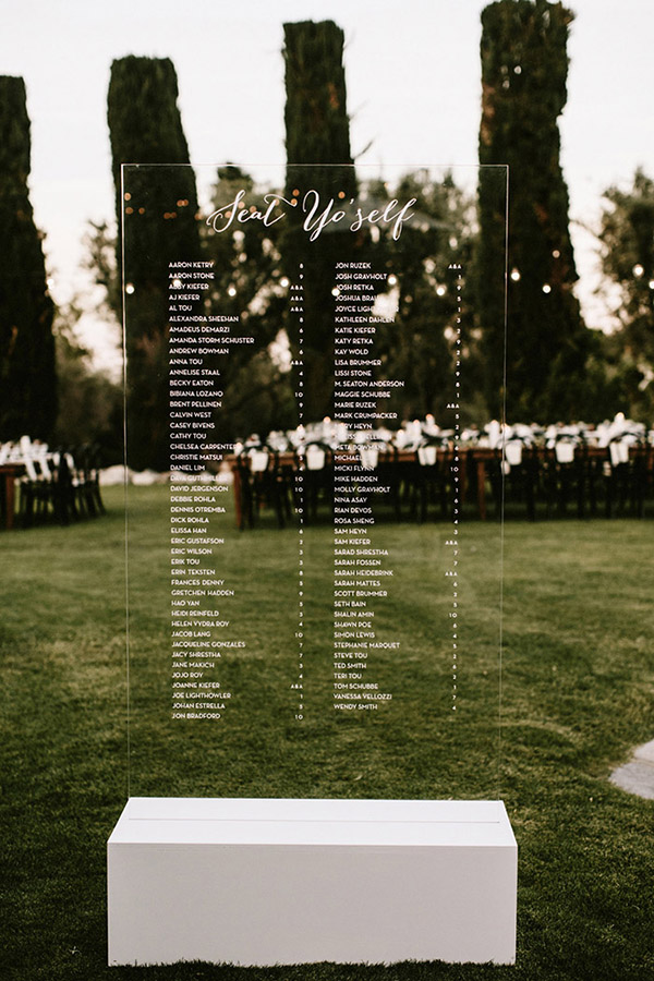 chic modern acrylic wedding menu board ideas