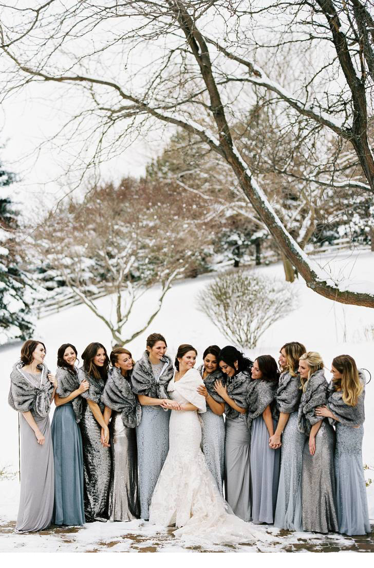 different grey shades bridesmaid dresses for winter weddings