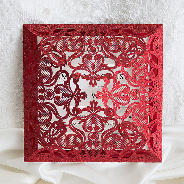 dreamy red sparkling laser cut holiday wedding invitations