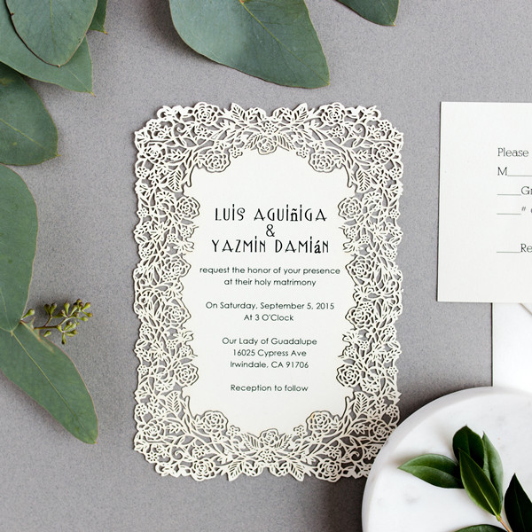 elegant flower laser cut wedding stationery