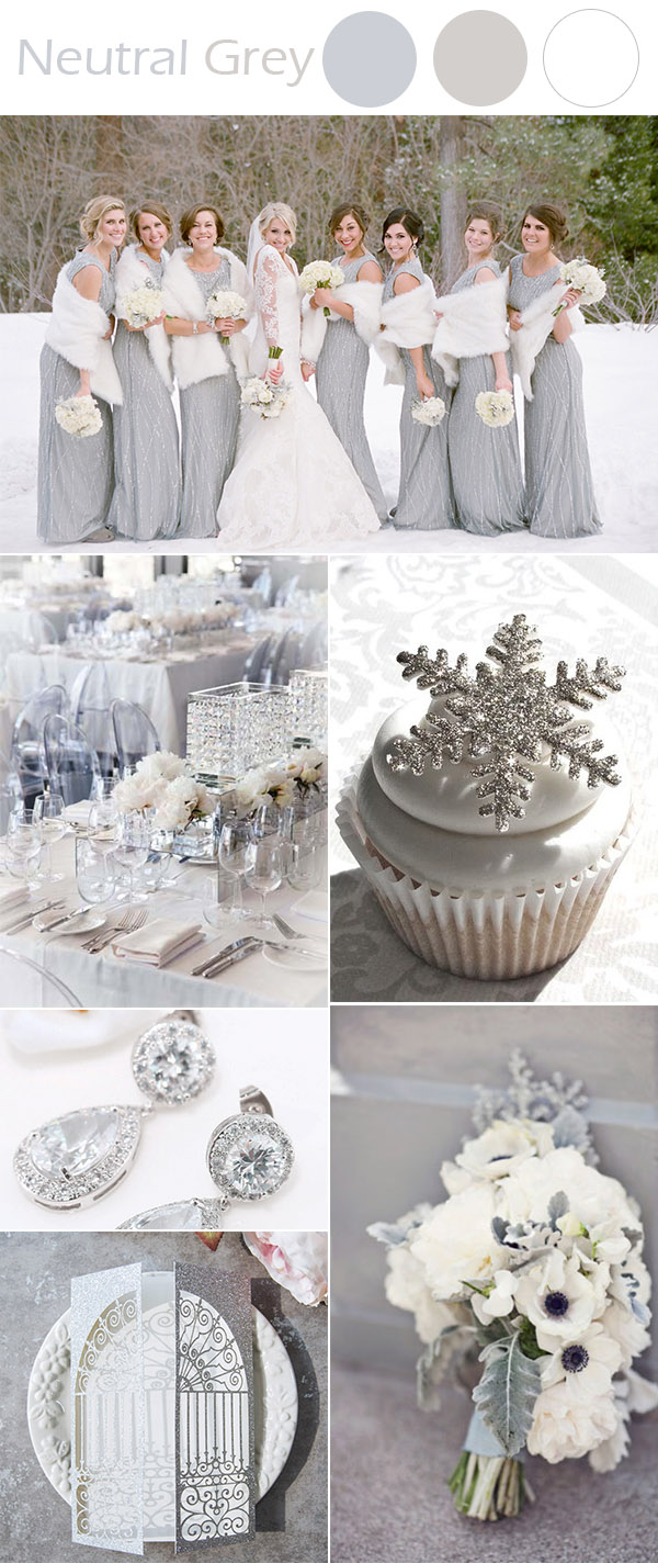 elegant grey neutral winter wonderland wedding ideas