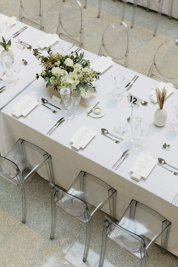 elegant modern white acrylic and lucite wedding ceremony ideas