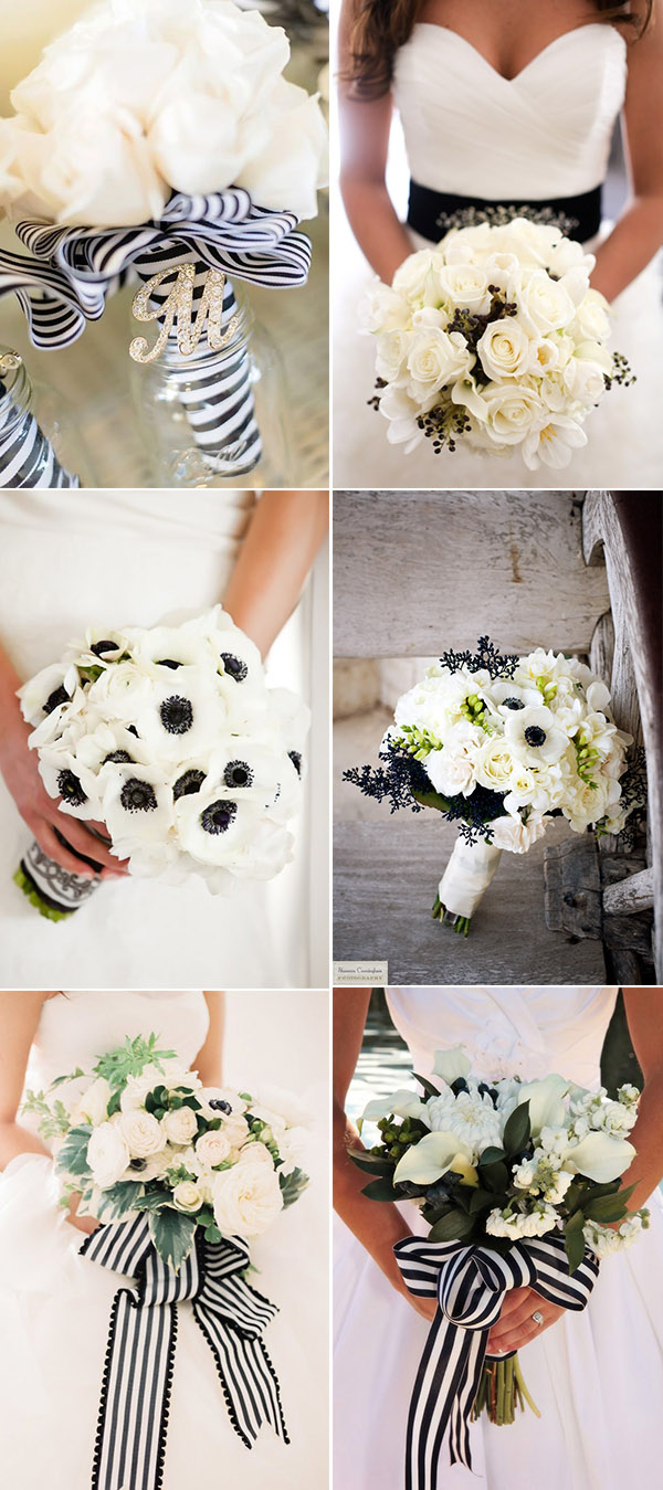 elegant pretty black and white bridal bouquets ideas
