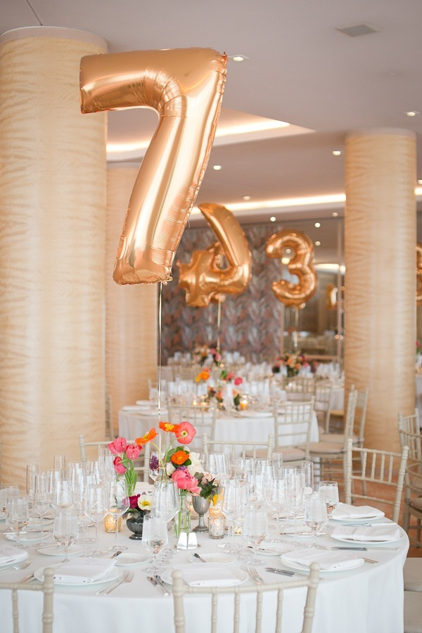 Giant Balloon Wedding Table Number Ideas
