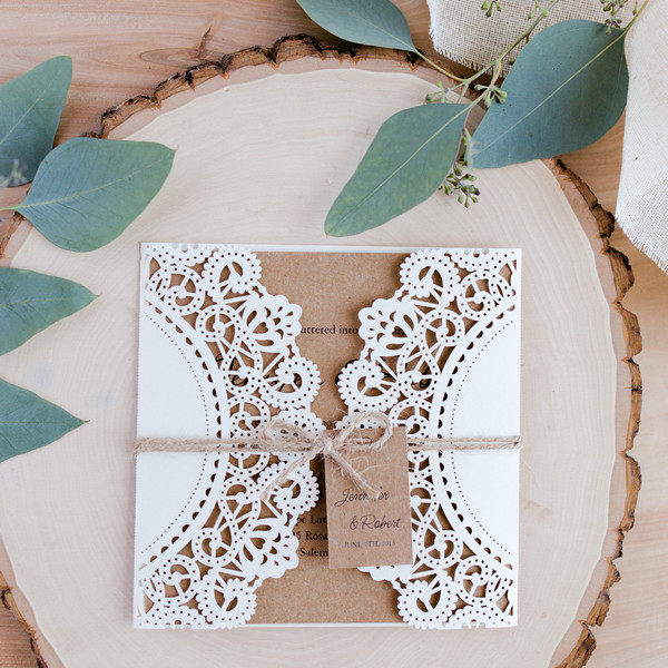 inexpensive rustic laser cut wedding invitation with tag