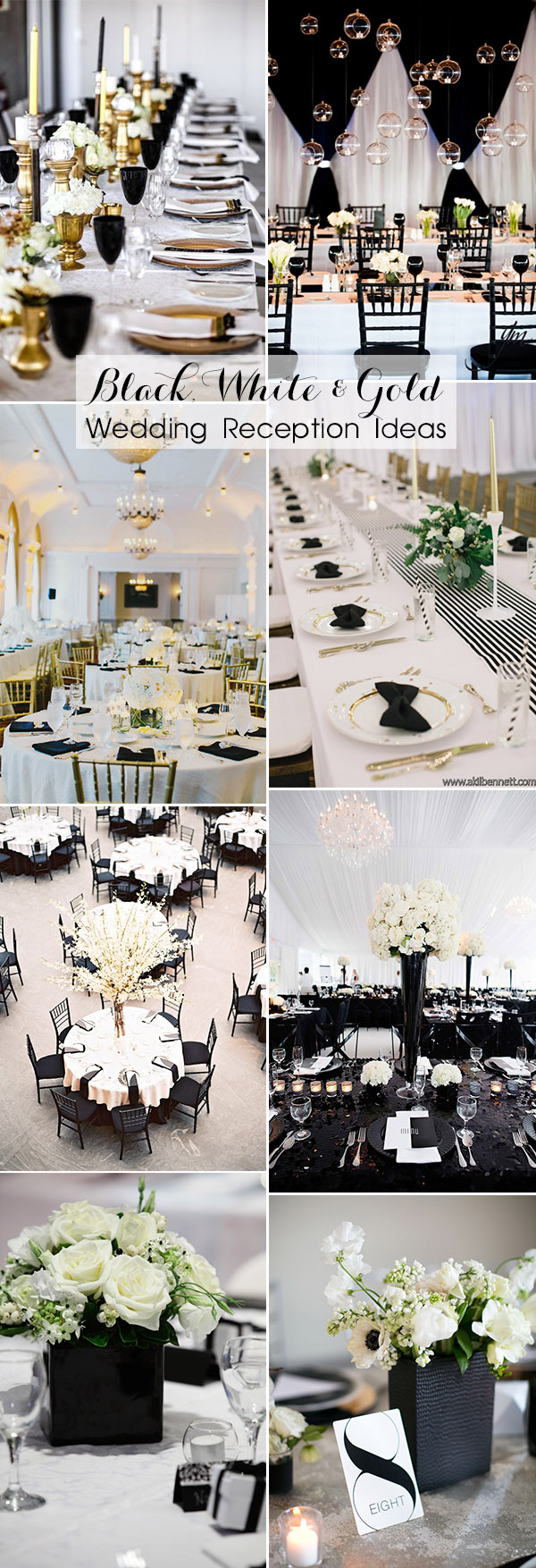 40 most inspiring classic black and white wedding ideas inspring black white and gold wedding reception decorating ideas junglespirit Choice Image