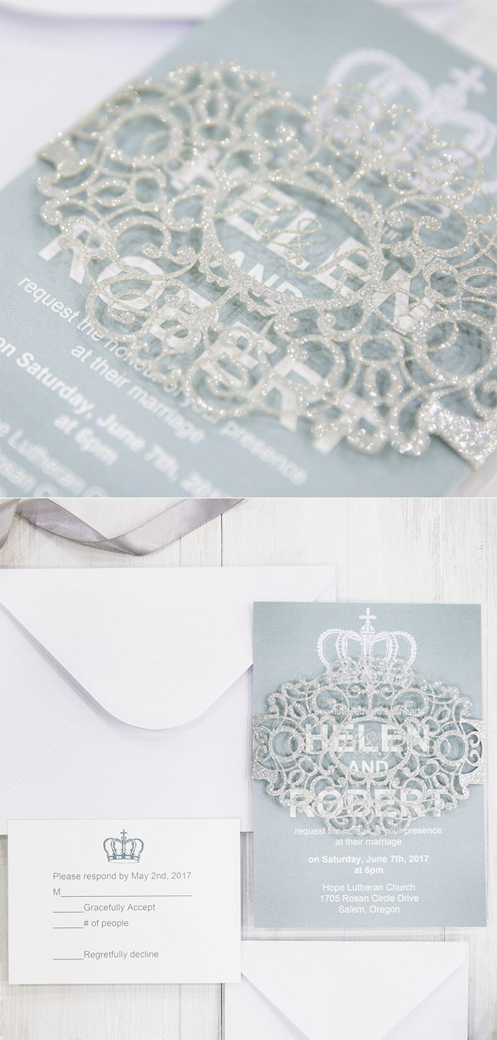 light blue ans glitter silver elegang winter wedding invitations