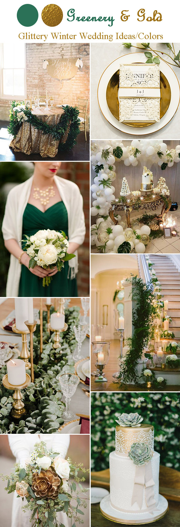 lush greenery and gold winter wedding ideas