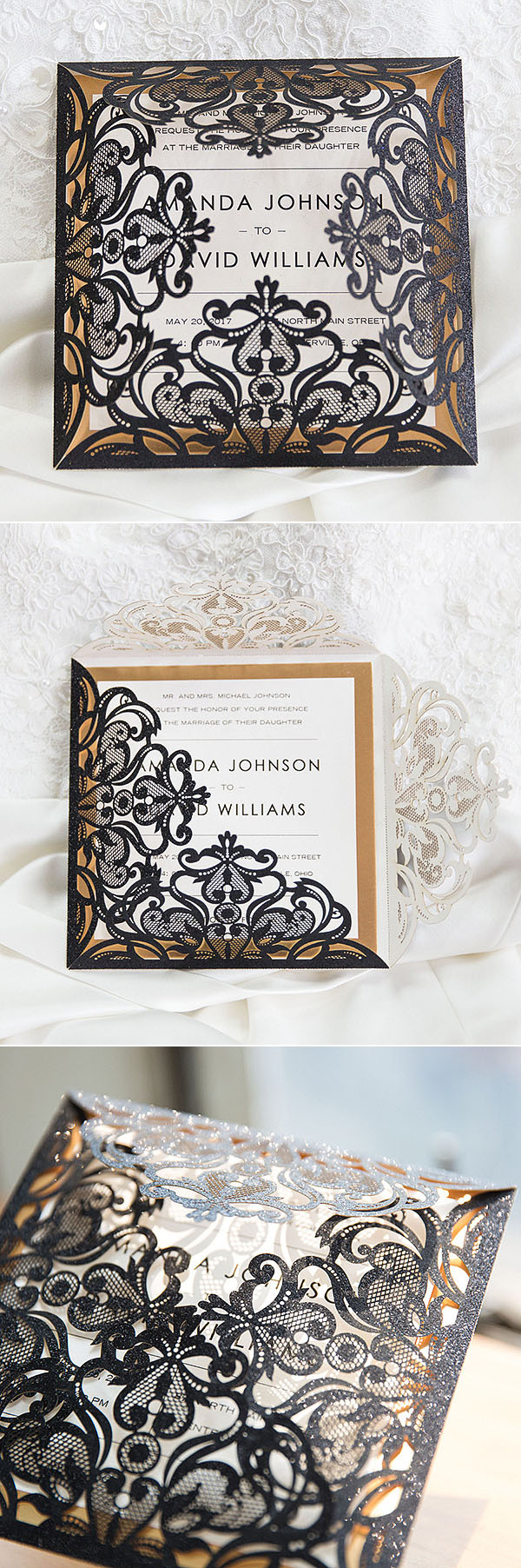luxury black and white laser cut wedding invitations with gold glittery mirror paper