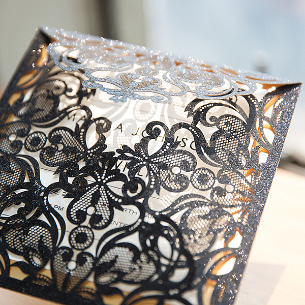 luxury black glittery laser cut weddin invitations