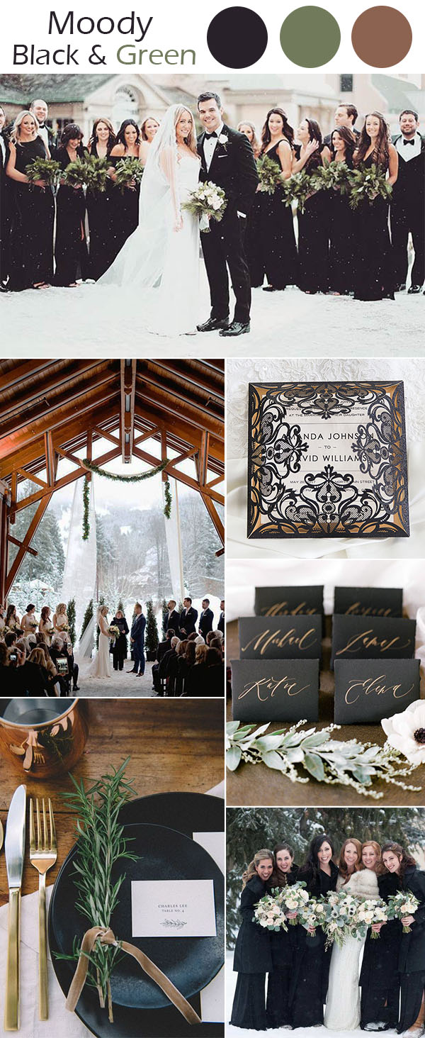 modern moody black winter wedding inspiration with copper shades