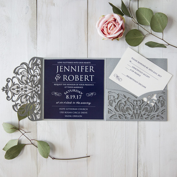 navy and grey laser cut wedding invites