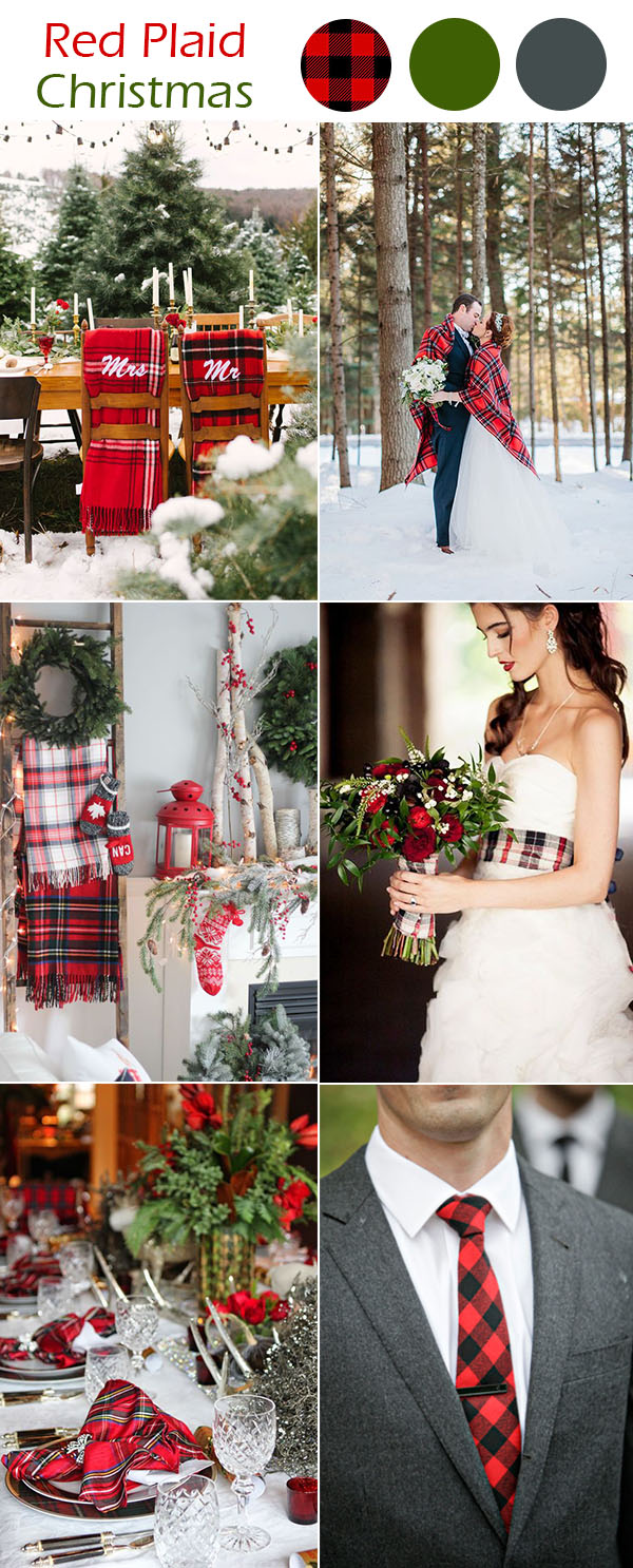 red plaid happy christmas wedding ideas