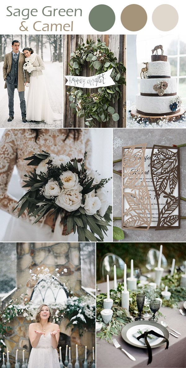 sage green and camel brown winter wedding inpiration ideas