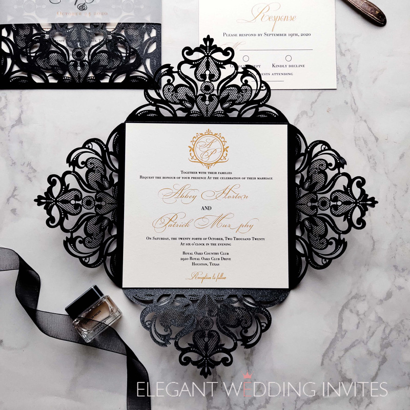 shiny black laser cut wedding invitations with belly band