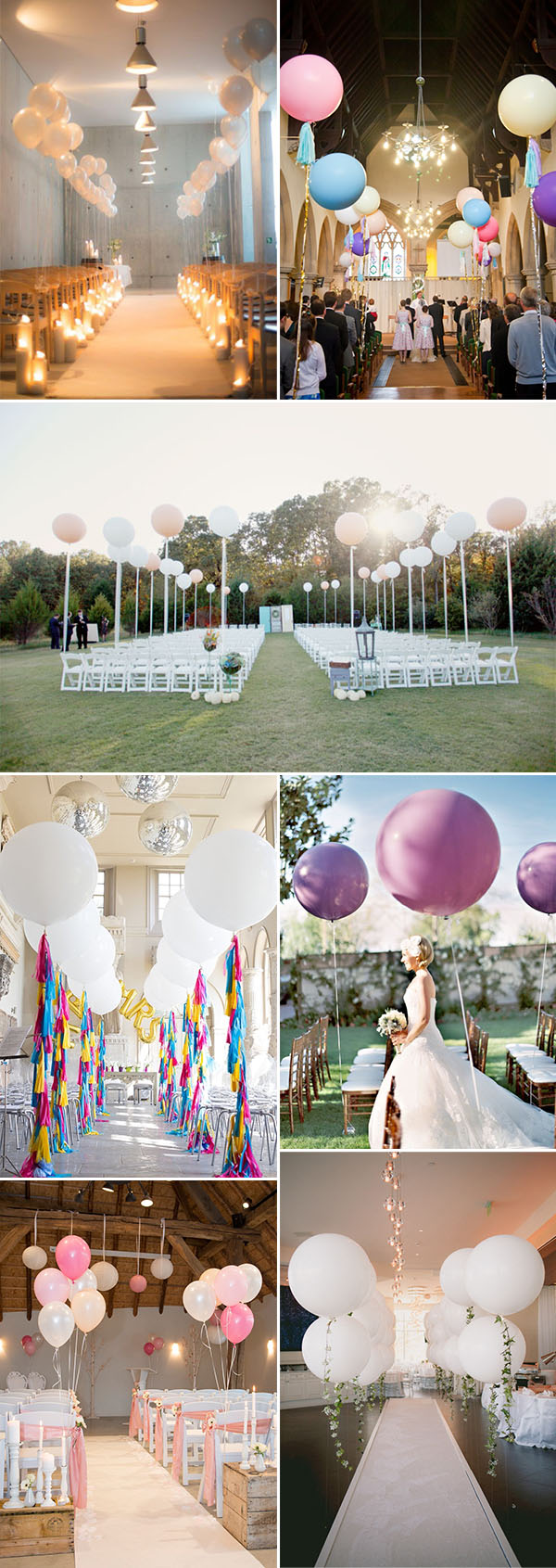 simple and lovely wedding ceremony aisle decoration ideas with balloons