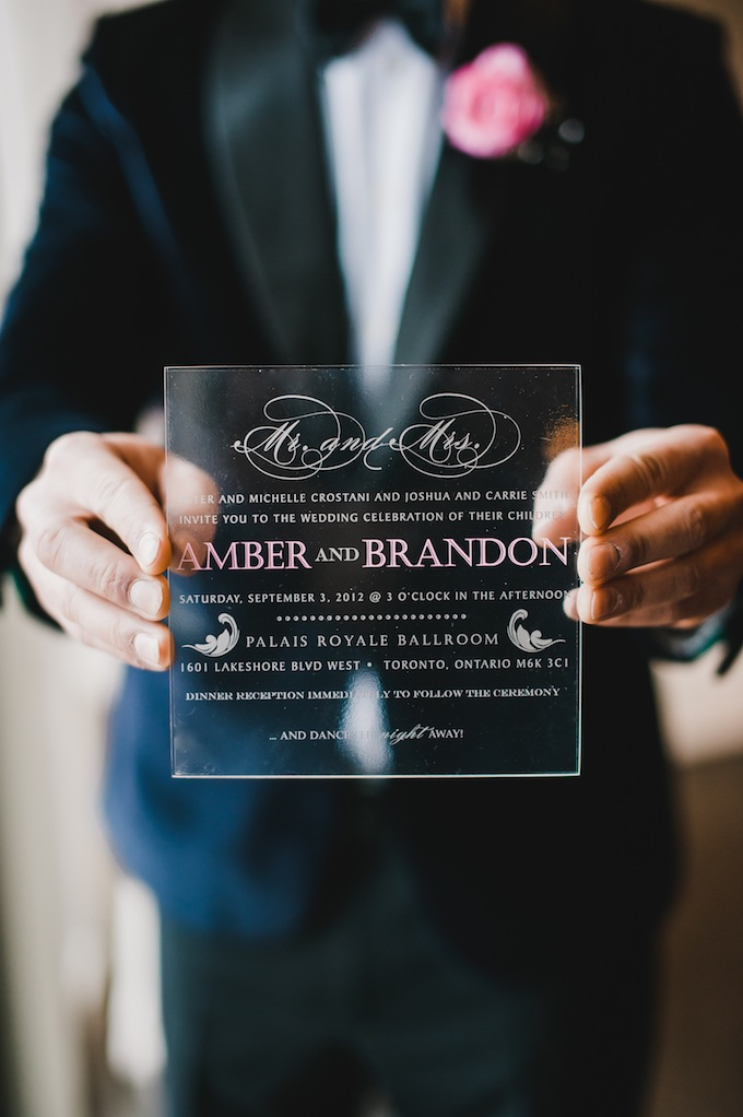 simple chic acrylic wedding stationery