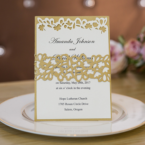 unique gold glitter layered laser cut wedding invites