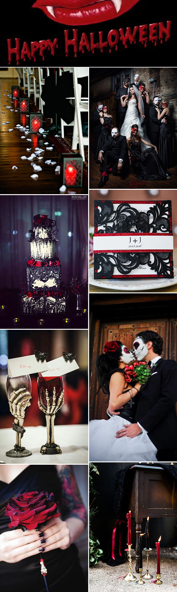 Black and Red Bloody vampire Halloween Wedding Ideas
