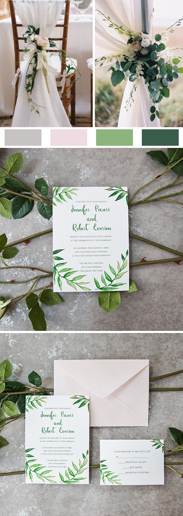 Bohemian Inspired Greenery Botanical Watercolor Wedding Invitations EWI420