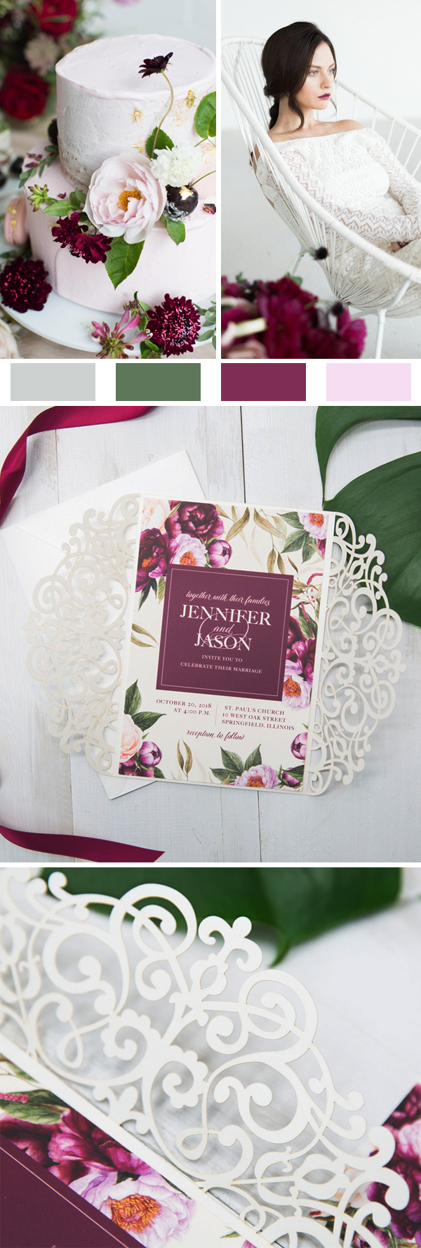 Boho Styled Burgundy Watercolor Floral Wedding Invitations EWDK001