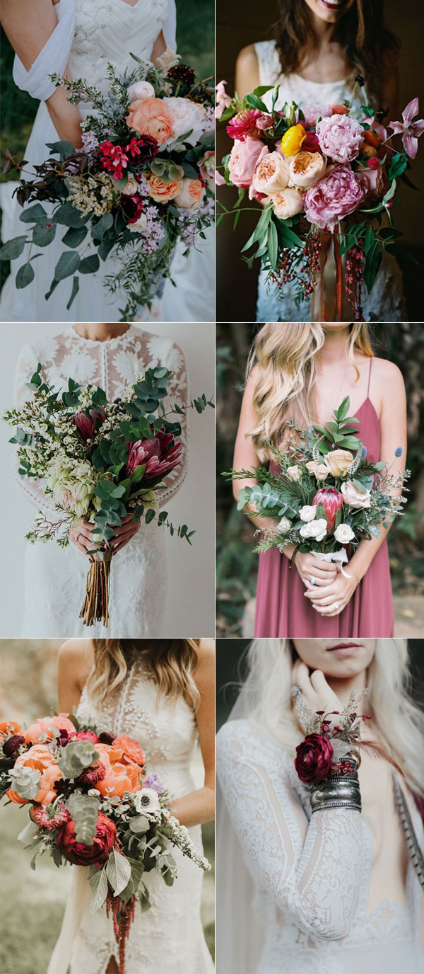 Boho Wild Flowers Wedding Bouquet Ideas