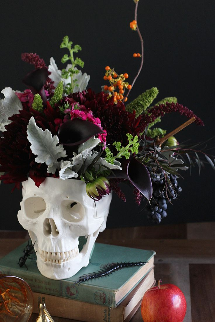 DIY Floral Skull Centerpiece for Halloween Wedding Party