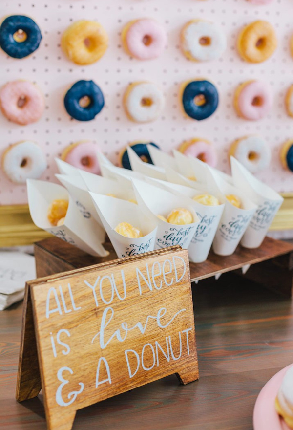 DIY Navy and Pink Wedding Donut Wall
