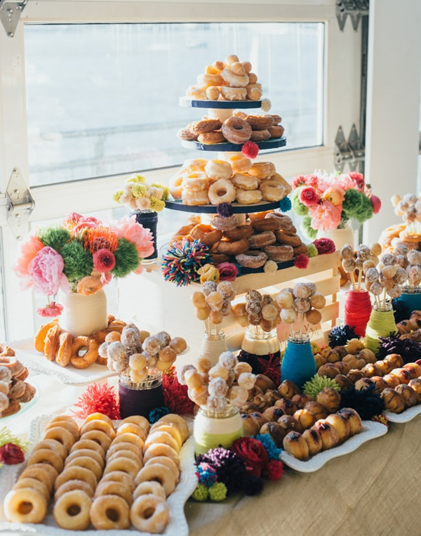 Delectable fried Donuts Bar Wedding Display Inspiration