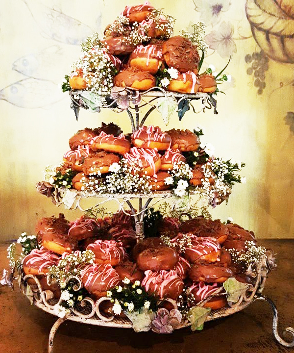 Delicious Rustic Donuts Wedding Cake