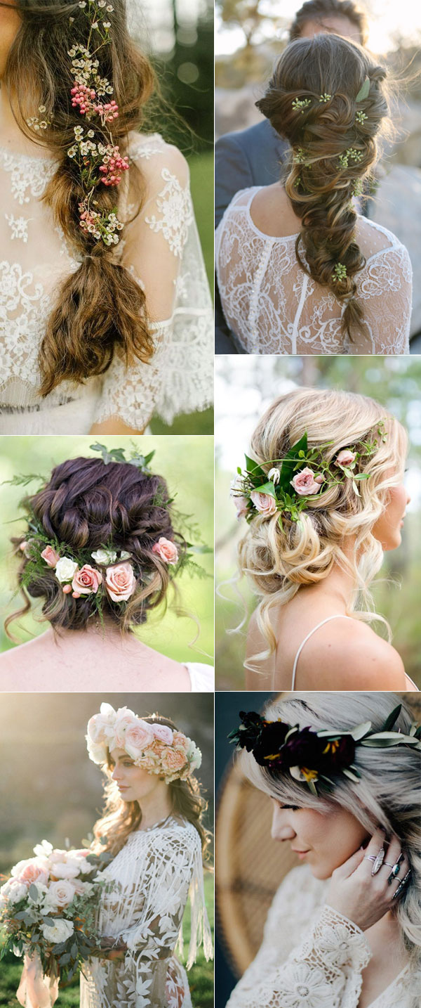 Elegant Boho Bridal Hairstyles with Floral Crowns