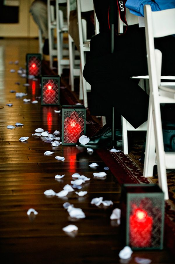 Halloween Wedding Aisle With Pumpkin Lanterns