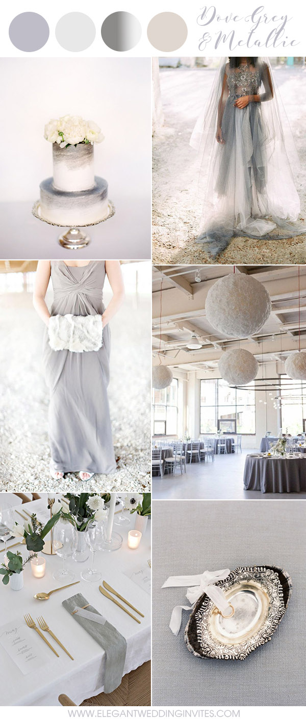 Harbor Mist Grey and Metallic Chic Modern Industrial Wedding Ideas