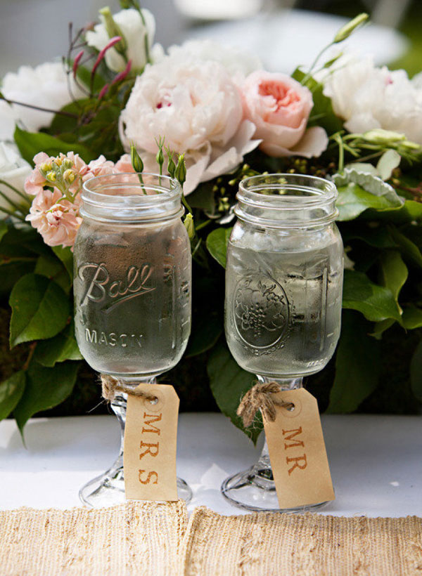 Mason jar Wine Glasses for Rustic Outdoor Weddings