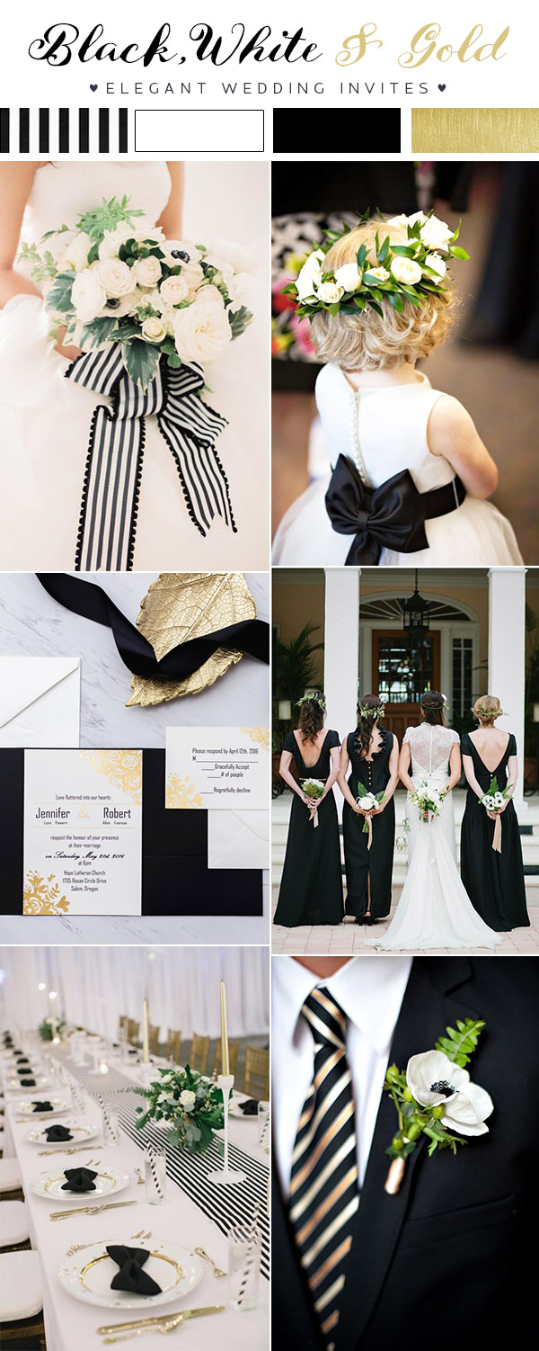 Modern Black And White Striped Wedding Ideas With Gold Accents