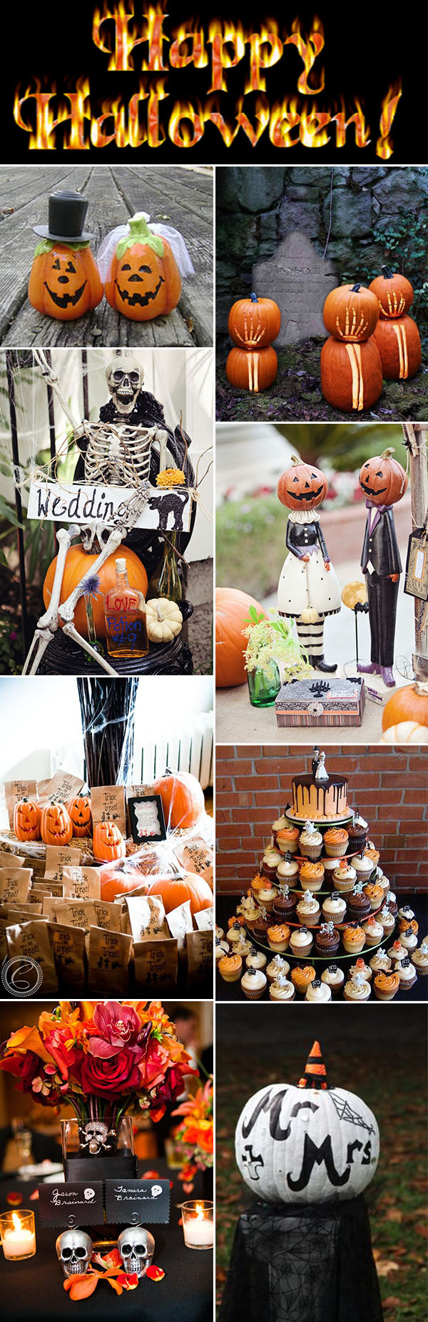 Orange and Black Pumpkin Fall Happy Halloween Themed Wedding Ideas