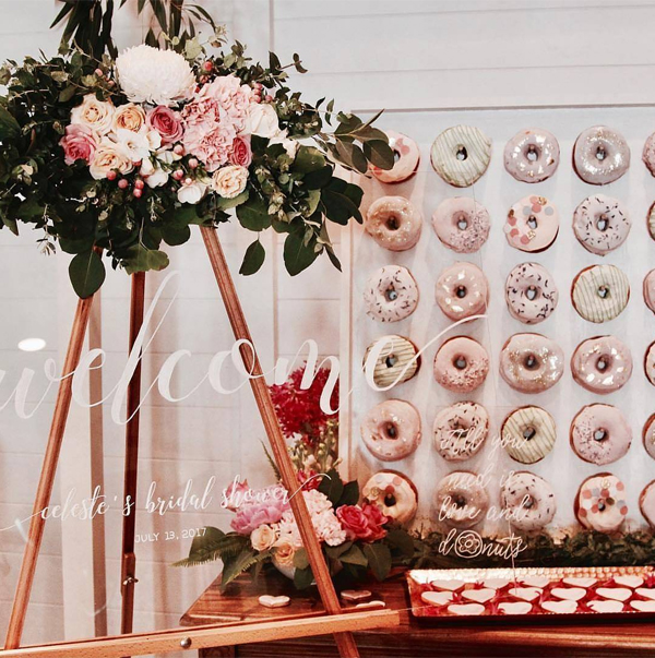 Pretty Bridal Shower Donuts Wall Display Ideas
