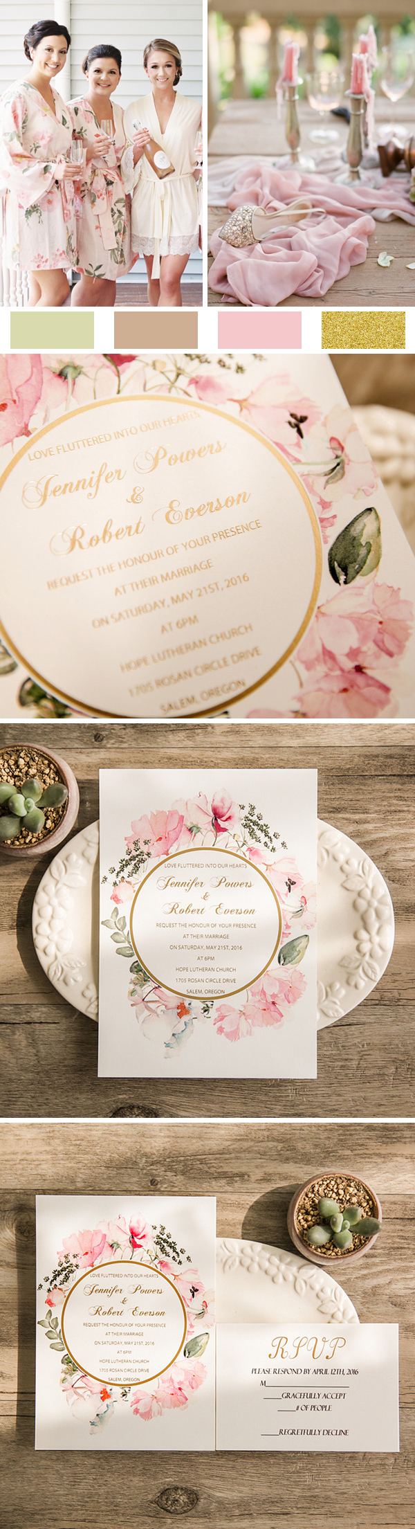 Romantic Boho Floral Blush and Gold Foil Stamped Wedding Invitations EWFI018