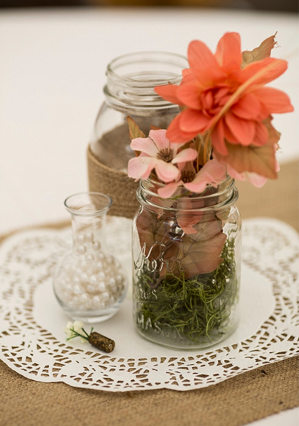 Shabby Chic Wedding Centerpiece With Flowers In Mason Jars