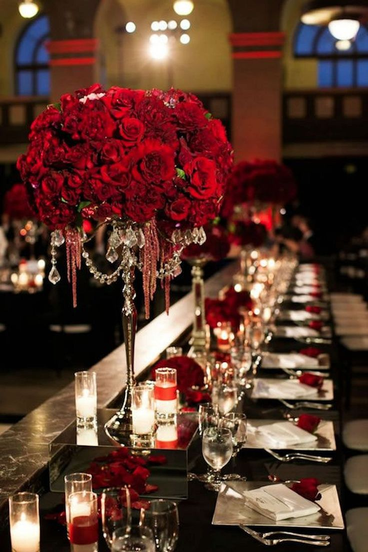 Tall Red Centerpieces for Black and Red Holloween Weddings