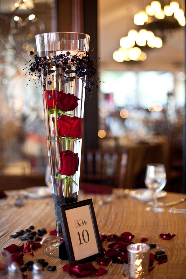 Tall Rose Glass Vase Halloween Wedding Centerpieces