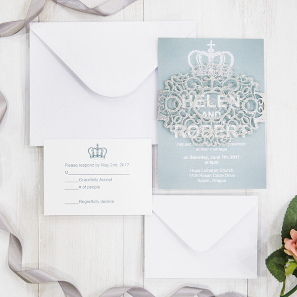 chic modern dusty blue and silver wedding invitations