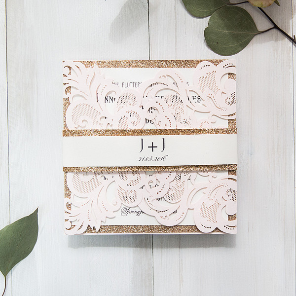 elegant blush and gold wedding invitations