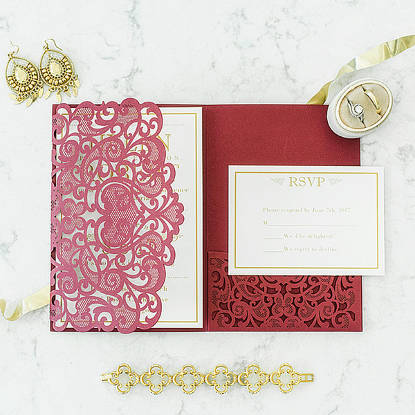 elegant dark red laser cut wedding invites