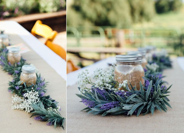 lavender Garlands and Fairy Lit Mason Jars Rustic Wedding Decor