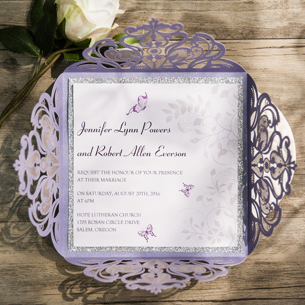 lavender and silver laser cut wedding invites