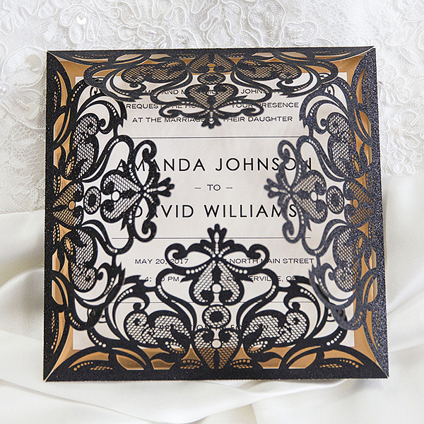 luxury black glittery laser cut wedding invitations
