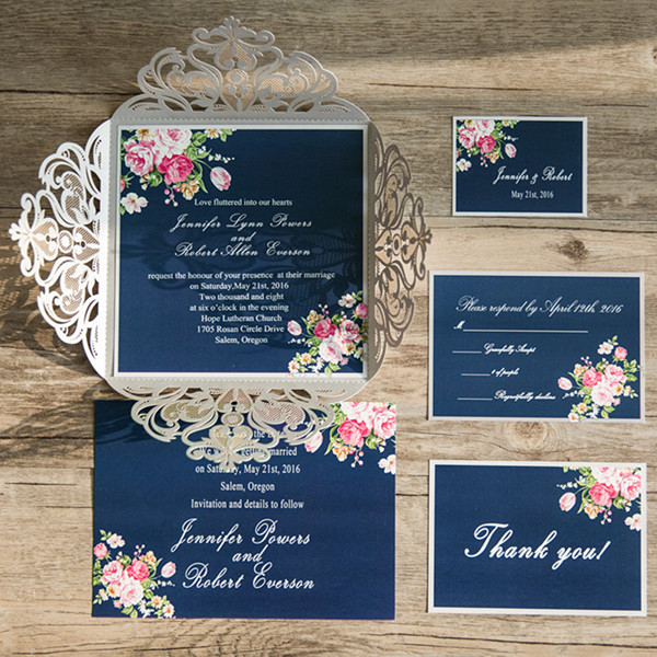 navy blue and pink floral wedding invites